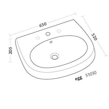 EGG LAVABO 1/3 FORI 65X52 codice prod: 51030000 product photo Foto1 L2