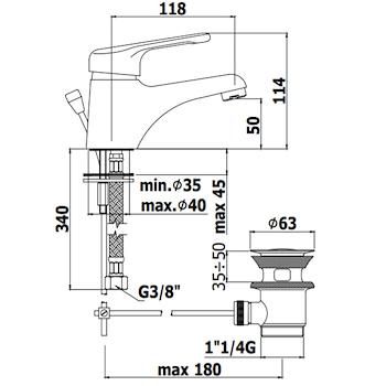 """NETTUNO NT070CR MISCELATORE LAVABO PILETTA 1""""G CROMATO codice prod: NT070CR product photo Foto1 L2"""