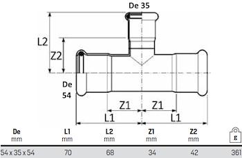 TEE RIDOTTO D. 54-35-54 codice prod: DSV07599 product photo Foto1 L2