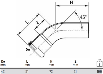 CURVA 45° MF D.42 codice prod: DSV07555 product photo Foto1 L2