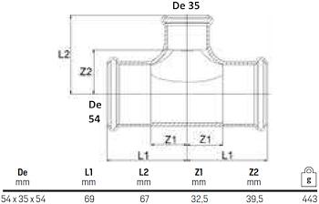 TEE RIDOTTO 54X35X54 codice prod: DSV08443 product photo Foto1 L2