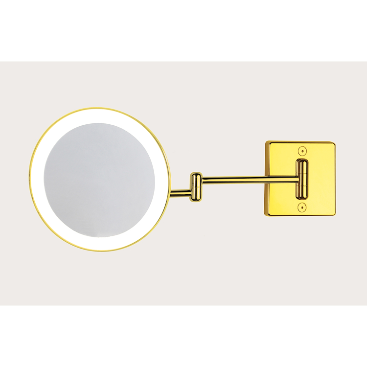 C35/2G3 DISCOLO LED SPECCHIO INGRANDITORE X3 TONDO DA PARETE ORO Ø23.2 BRACCIA, ILLUMINAZIONE A LED codice prod: C35/2G3 product photo