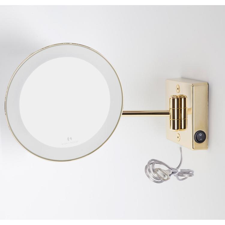 DISCOLO LED C36/1G3 SPECCHIO INGRANDITORE X3 TONDO DA PARETE ORO Ø23.1 BRACCIO ILLUMINAZIONE A LED codice prod: C36/1G3 product photo