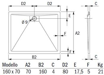 PIATTO DOCCIA PLANE STORM RETT.160X70 codice prod: DSV15862 product photo Foto1 L2