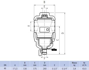 """DEFANGATORE MAGNETICO FILETTATO G 1""""1/2 IN OTTONE CON COIBENTAZIONE codice prod: DSV17825 product photo Foto1 L2"""