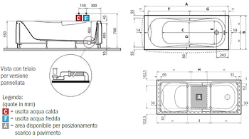 VASCA NETTUNO CM 160X70 BIANCO LUCIDO codice prod: DSV17478 product photo Foto1 L2