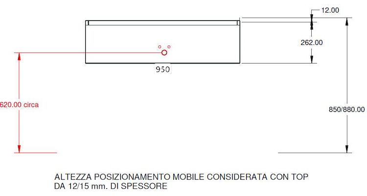 BASE PORTALAVABO CANALETTO 95 SOSP. 1 CASS. L 95 H 26,50 P 50 QUERCIA OSSIDATA codice prod: DSV17710 product photo