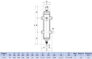 """SEPARATORE IDRAULICO FILETTATO G 1""""1/4 NON MAGNETICO codice prod: DSV17828 product photo Foto1 L2"""
