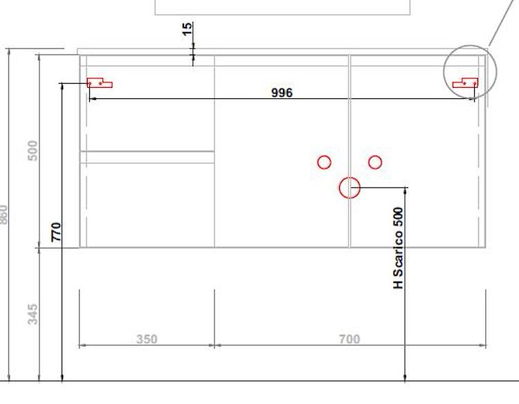 BASE TIZIANO SOSP.DX 2 ANTE 2 CASS.TOP C/VASCA INTEGR.L.105 P.50CM SHERW.PLAT. codice prod: DSV15359 product photo