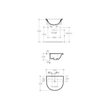 FIORILE lavabo semincasso 1F 3F 65x53 bianco europeo codice prod: T085301 product photo Foto1 L2