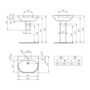 TONIC Lavabo 1 foro 60x52 bianco europeo codice prod: K068801 product photo Foto1 L2