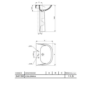 ATENA Colonna Lavabo bianca codice prod: 34150-000 product photo Foto1 L2
