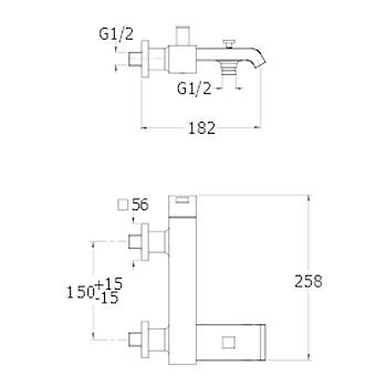 QUADRI RUBINETTO VASCA A PARETE codice prod: LISQM10751 product photo Foto1 L2
