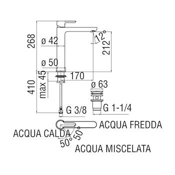 """ABC ABE87128/2 MISCELATORE LAVABO ECO ALTO SCARICO1 """"1/4 CROMATO codice prod: ABE87128/2CR product photo Foto1 L2"""