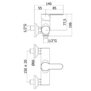 BLU BLU168 MISCELATORE DOCCIA ESTERNO CROMATO codice prod: BLU168CR product photo Foto1 L2
