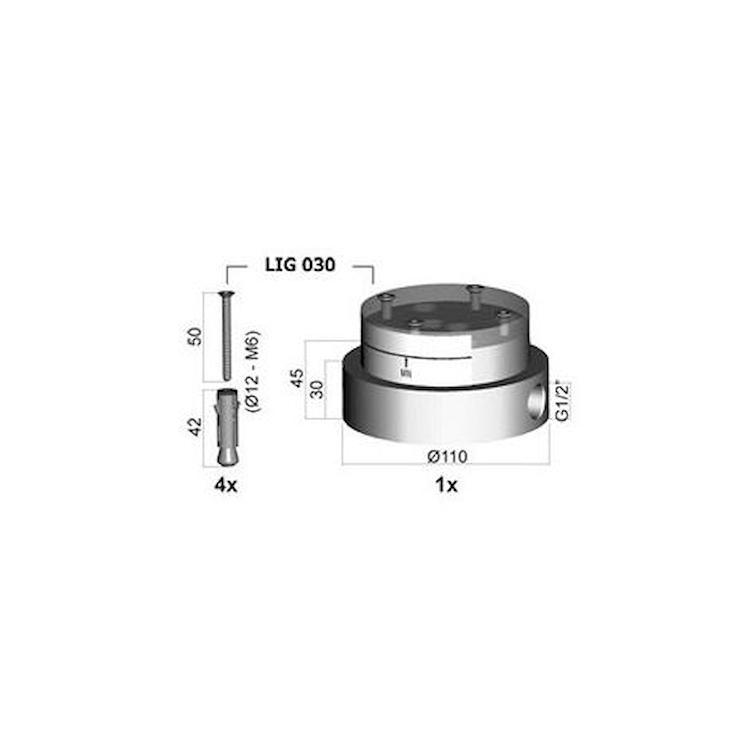 LIGHT LIG030 PARTE INCASSO BASE MISCELATORE LAVABO PAVIMENTO CROMATO codice prod: LIG030 product photo