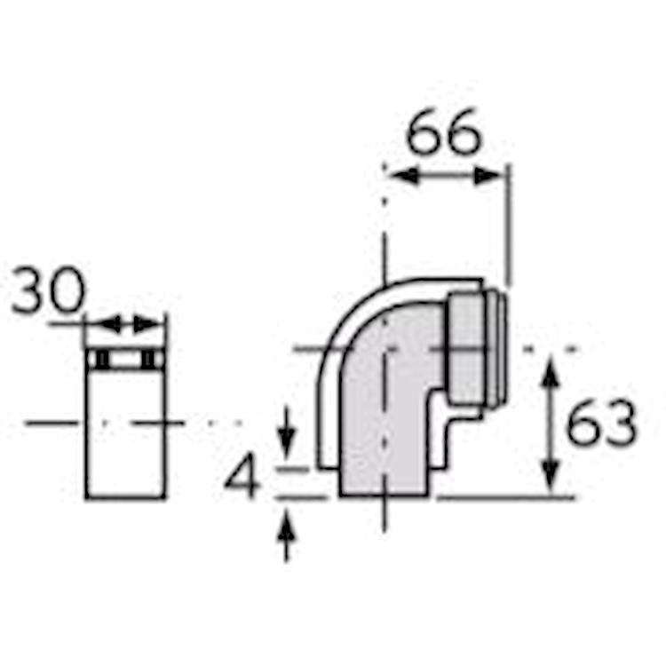 CURVA 90° C/FASCETTA ARIA  60/100 TURBOMAGPLUS C/ISPEZIONE codice prod: 0020201157 product photo