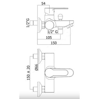 BLU RUBINETTO VASCA A PARETE codice prod: BLU022CR product photo Foto1 L2
