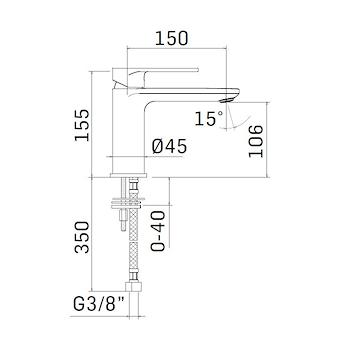 SADLER RUBINETTO LAVABO MONOLEVA SENZA PILETTA codice prod: 4603S1506001 product photo Foto1 L2