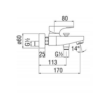 SEVEN RUBINETTO VASCA A PARETE codice prod: SE124110/1CR product photo Foto1 L2
