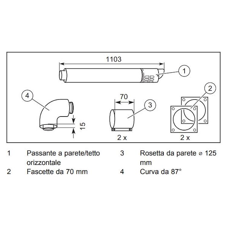 TURBOMAG PLUS S303609 TERMINALE ANTIVENTO CON CURVA 87° 80/125 codice prod: 303609 product photo