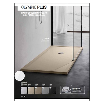 OLYMPIC PLUS OL801204-30 PIATTO DOCCIA ACRILICO 120X80 H.4,5 PILETTA Ø 90 BIANCO codice prod: OL801204-30 product photo Default L2
