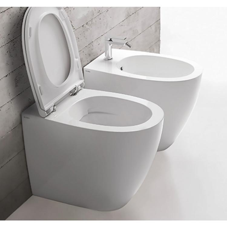 4ALL WC SENZA BRIDA MD004BI + BIDET CON FISSAGGI GHOST MD010BI + SEDILE RALLENTATO MDR20BI product photo
