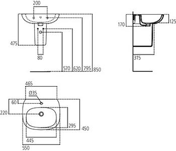 TESI NEW LAVABO 1 FORO 55X45 SOSPESO codice prod: T351501 product photo Foto1 L2
