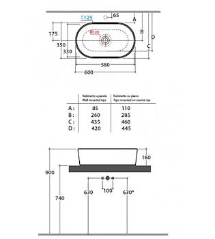 FORTY3 LAVABO APPOGGIO 60X35 codice prod: FO061BI product photo Foto1 L2
