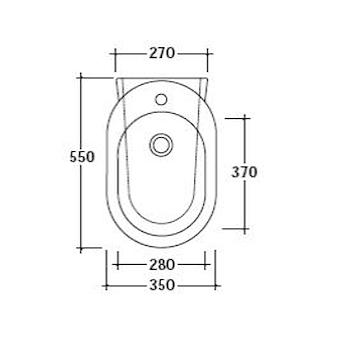 M2 BIDET 55 1 FORO 27X55 SOSPESO BIANCO codice prod: 5246 product photo Foto1 L2