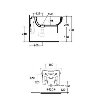 M2 BIDET 55 1 FORO 27X55 SOSPESO BIANCO codice prod: 5246 product photo Foto2 L2