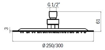 SOFFIONE DOCCIA TONDO SLIM ACCIAIO D.250 ANTICALCARE CROMO codice prod: DSV13489 product photo Foto1 L2