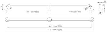 MANIGLIONE SERIE EXPORT 200 cm CON RINFORZO CENTRALE codice prod: DSV13356 product photo Foto1 L2