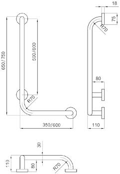 MANIGLIONE ANGOLARE SERIE EXPORT CON MONTANTE A SINIESTRA 60X75 codice prod: DSV11410 product photo Foto1 L2