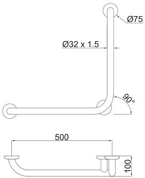 MANIGLIONE C/VERTICALE LATERALE UNIVERSALE DX/SX 50x50cm codice prod: DSV14834 product photo Foto1 L2