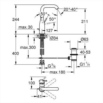 ESSENCE NEW MISCELATORE LAVABO BOCCA ALTA codice prod: 32628001 product photo Foto1 L2