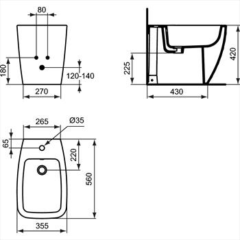 21 BIDET FILO PARETE 1 FORO codice prod: T515001 product photo Foto1 L2