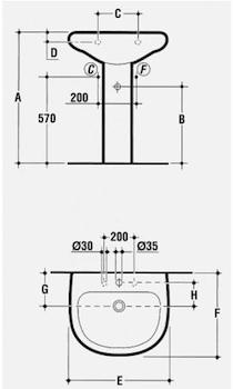 TESI LAVABO 1 FORO 65X54,5 codice prod: T090261 product photo Foto1 L2