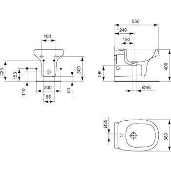 Tesi Bidet Sospeso 1 Foro Codice Prod R373961 Ideal Standard Ceramica