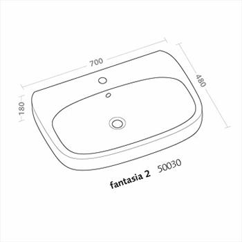 FANTASIA2 LAVABO 1/3 FORI 70X48 codice prod: 50030000 product photo Foto1 L2