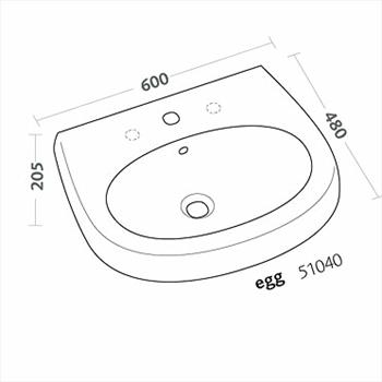 EGG LAVABO 1/3 FORI 60X48 codice prod: 51040000 product photo Foto1 L2