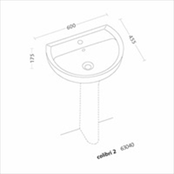 COLIBRI'2 LAVABO 1/3 FORI 60X47,5 codice prod: 63040000 product photo Foto1 L2