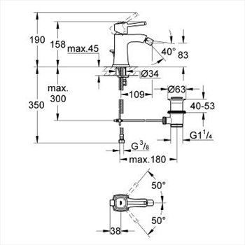 GRANDERA MISCELATORE STANDARD PER BIDET codice prod: 23315000 product photo Foto1 L2