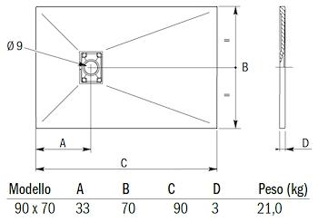 MINERAL PIATTO DOCCIA 90X70 PANNA codice prod: DSV15846PA product photo Default L2