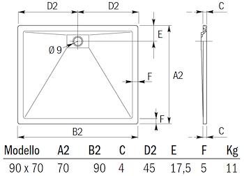 PLANE PIATTO DOCCIA RETTANGOLARE 90 X 70 BIANCO codice prod: DSV15858 product photo Foto1 L2