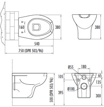 WC CON APERTURA FRONTALE SOSPESO SCARICO 4,5LT codice prod: DSV14675 product photo Foto1 L2