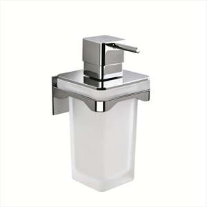 FOREVER PORTA DISPENSER PARETE CROMATO VETRO ACIDATO NATURALE codice prod: B93330CR-VAN product photo