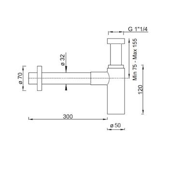 SIFONE SCARICO QUADRO 1''1/4 codice prod: BTSCACVR41 product photo Foto1 L2