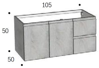 BASE FELTRE 105 CON DUE ANTE, DUE CASSETTI SX CONSOLLE MINERALMARMO codice prod: DSV15360 product photo Foto1 L2