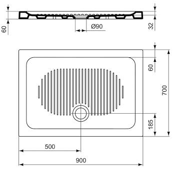 CONNECT P/DOCCIA CERAMICA 90X70 BEU01 PIATTO H6 codice prod: T267001 product photo Foto1 L2